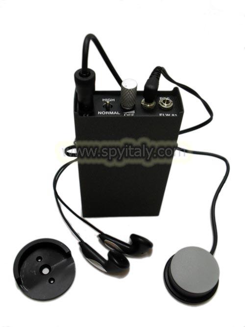 AM-60 - Kit amplificatore, microfono a contatto professionale, sonda ago per ascolto attraverso i muri